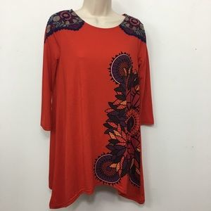 DESIGUAL Embroidered Floral Paisley Top Blouse S